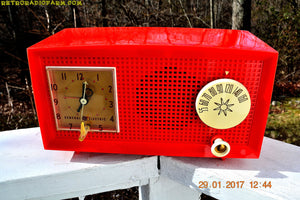 SOLD! - Feb 17, 2017 - RED HOT RED Mid Century Retro Vintage 1954 General Electric Model 556 AM Tube Radio Absolutely Pristine! - [product_type} - General Electric - Retro Radio Farm