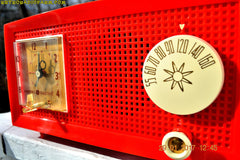 SOLD! - Feb 17, 2017 - RED HOT RED Mid Century Retro Vintage 1954 General Electric Model 556 AM Tube Radio Absolutely Pristine!