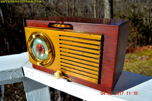 SOLD! - March 3, 2017 - BLUETOOTH MP3 READY - BURLED TOP Art Deco 1952 General Electric Model 521F AM Brown Bakelite Tube Clock Radio