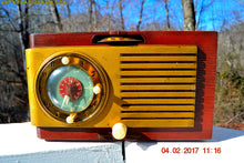 Load image into Gallery viewer, SOLD! - March 3, 2017 - BLUETOOTH MP3 READY - BURLED TOP Art Deco 1952 General Electric Model 521F AM Brown Bakelite Tube Clock Radio