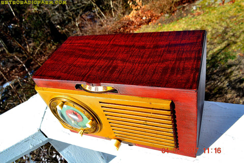 SOLD! - March 3, 2017 - BLUETOOTH MP3 READY - BURLED TOP Art Deco 1952 General Electric Model 521F AM Brown Bakelite Tube Clock Radio Totally Restored!