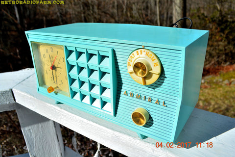 SOLD! - Feb 8, 2017 - BLUETOOTH MP3 READY - Pistachio Green Antique Mid Century Vintage 1955 Admiral 251 AM Tube Radio Totally Restored!