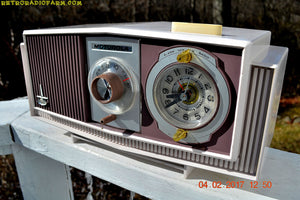 SOLD! - Dec 5, 2018 -  Plum Crazy Mid Century Retro 1963 Motorola Model C4P-55 Tube AM Clock Radio Rare Color! - [product_type} - Motorola - Retro Radio Farm