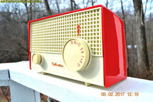 Load image into Gallery viewer, SOLD! - Apr 18, 2017 - RED And White Mid Century Antique Retro 1959 Silvertone Model 1003 AM Tube Radio Works Great! - [product_type} - Silvertone - Retro Radio Farm