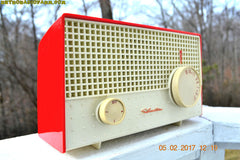 SOLD! - Apr 18, 2017 - RED And White Mid Century Antique Retro 1959 Silvertone Model 1003 AM Tube Radio Works Great!