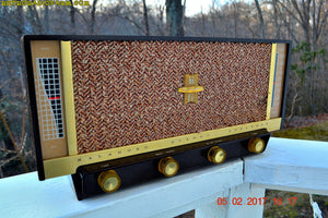 SOLD! - Feb 8, 2017 - BLUETOOTH MP3 READY - BROWN DELUXE Mid Century Retro Antique Vintage 1957 Silvertone Model 11 AM Tube Radio Totally Restored! - [product_type} - Silvertone - Retro Radio Farm