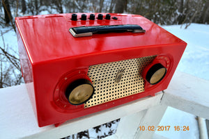 SOLD! - Dec 6, 2017 - CANDY APPLE RED Mid Century Retro Jetsons Vintage 1955 Zenith Model R511-F AM Tube Radio Excellent Condition! - [product_type} - Zenith - Retro Radio Farm