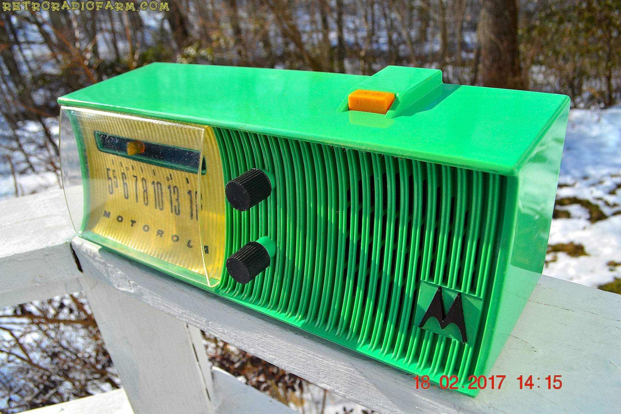 SOLD! - Feb 11, 2019 - Sea Green Mid Century Retro Jetsons 1957 Motorola 57H Tube AM Radio Excellent Condition! - [product_type} - Motorola - Retro Radio Farm