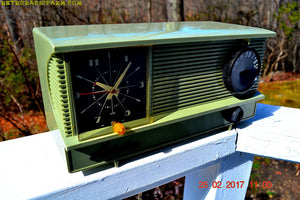 SOLD! - Sept 15, 2017 - OLIVE GREEN Vintage Antique Mid Century 1955 Arvin Model 5571 Tube AM Clock Radio Excellent Condition! - [product_type} - Arvin - Retro Radio Farm