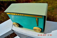 SOLD! - Mar 31, 2017 - BLUETOOTH MP3 READY - Teal and Light Green Retro Jetsons 1959 Motorola Model A16G-29 Tube AM Clock Radio Totally Restored!