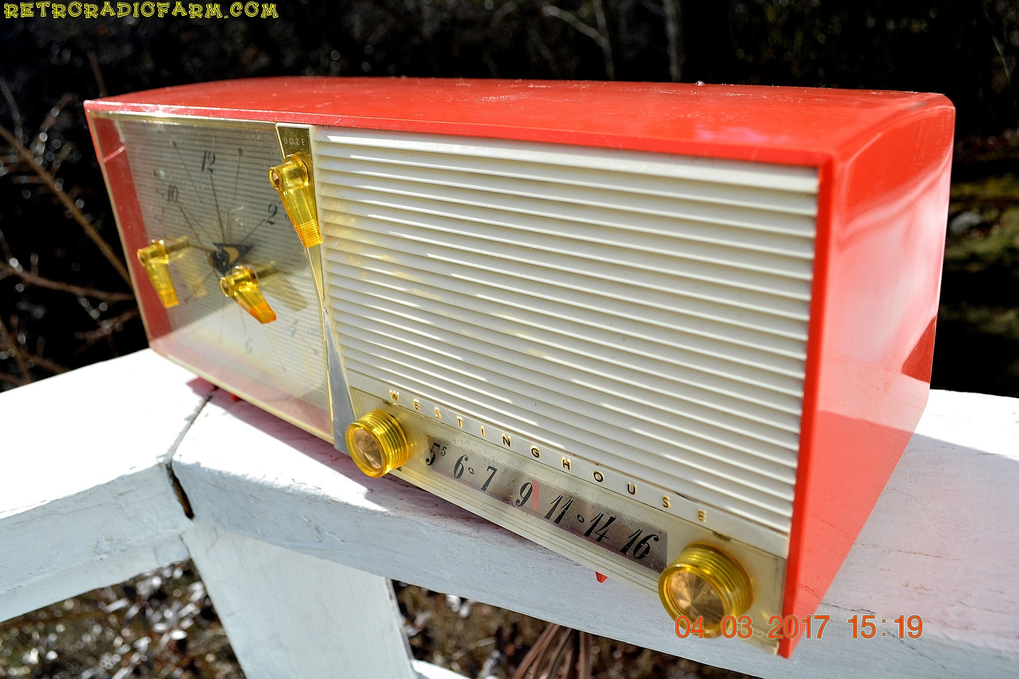 SOLD! - March 5, 2017 - SALMON Pink Retro Jetsons Vintage 1957 Westinghouse H-645T6 AM Tube Radio Works! - [product_type} - Westinghouse - Retro Radio Farm