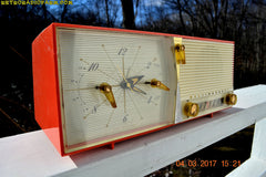 SOLD! - March 5, 2017 - SALMON Pink Retro Jetsons Vintage 1957 Westinghouse H-645T6 AM Tube Radio Works!