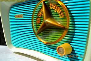 SOLD! - June 5, 2017 - SO JETSONS LOOKING Retro Vintage Turquoise and White 1959 Travler Model T-204 AM Tube Radio Near Mint!