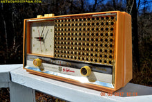 Load image into Gallery viewer, SOLD! - July 28, 2018 - BUFF PINK Retro Space Age 1957 Sylvania Model 1322 Tube AM Clock Radio Sounds Great! - [product_type} - Sylvania - Retro Radio Farm