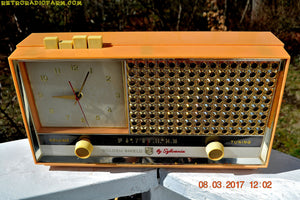 SOLD! - July 28, 2018 - BUFF PINK Retro Space Age 1957 Sylvania Model 1322 Tube AM Clock Radio Sounds Great! - [product_type} - Sylvania - Retro Radio Farm