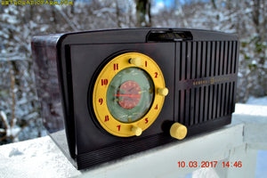 SOLD! - Mar 14, 2017 - BLUETOOTH MP3 READY - Golden Age Art Deco 1953 General Electric Model 515F AM Brown Bakelite Tube Clock Radio Totally Restored! - [product_type} - General Electric - Retro Radio Farm