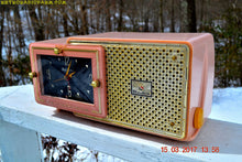Load image into Gallery viewer, SOLD! - Dec 9, 2017 - FIFTH AVENUE PINK Mid Century Retro Jetsons 1957 Bulova Model 120 Tube AM Clock Radio Excellent Condition! - [product_type} - Bulova - Retro Radio Farm