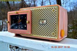 SOLD! - Dec 9, 2017 - FIFTH AVENUE PINK Mid Century Retro Jetsons 1957 Bulova Model 120 Tube AM Clock Radio Excellent Condition! - [product_type} - Bulova - Retro Radio Farm