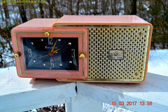 SOLD! - Dec 9, 2017 - FIFTH AVENUE PINK Mid Century Retro Jetsons 1957 Bulova Model 120 Tube AM Clock Radio Excellent Condition!
