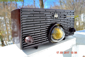 SOLD! - Nov 29, 2017 - ESPRESSO Mid Century Retro Jetsons 1957 Motorola 56H Turbine Tube AM Radio Marbled!
