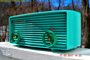SOLD! - June 17, 2019 - Beautiful Turquoise 1957 Motorola 57R Tube AM Antique Radio New Old Stock Cabinet! - [product_type} - Retro Radio Farm - Retro Radio Farm