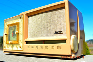 SOLD! - Sept 14, 2014 - BEAUTIFUL SANDY TAN Retro Space Age 1956 Arvin Tube AM Clock Radio WORKS! , Vintage Radio - Arvin, Retro Radio Farm  - 3