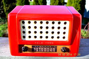 SOLD! May 28, 2014 - FIRE ENGINE RED Rare Art Deco Retro 1947-49 TELE TONE AM Tube Radio Works! Wow! , Vintage Radio - Teletone, Retro Radio Farm  - 2