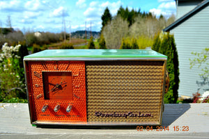 SOLD! - May 28, 2014 - BEAUTIFUL GREEN AND COPPER Retro Jetsons 1950's Stromberg Carlson C-5 Tube AM Clock Radio WORKS! , Vintage Radio - Stromberg Carlson, Retro Radio Farm  - 3