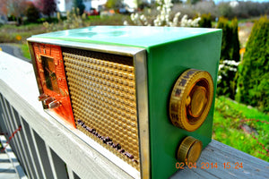 SOLD! - May 28, 2014 - BEAUTIFUL GREEN AND COPPER Retro Jetsons 1950's Stromberg Carlson C-5 Tube AM Clock Radio WORKS! - [product_type} - Stromberg Carlson - Retro Radio Farm
