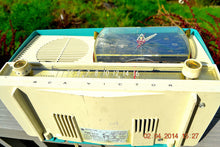 Load image into Gallery viewer, SOLD! - July 15, 2014 - BEAUTIFUL AQUA Retro Jetsons 1956 RCA Victor 9-C-71 Tube AM Clock Radio WORKS! - [product_type} - Vintage Radio - Retro Radio Farm