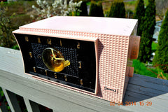 SOLD! - July 19, 2014 - BEAUTIFUL POWDER PINK Retro Jetsons 1954 Sonora 633 Tube AM Clock Radio WORKS! , Vintage Radio - Sonora, Retro Radio Farm  - 2