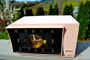 SOLD! - July 19, 2014 - BEAUTIFUL POWDER PINK Retro Jetsons 1954 Sonora 633 Tube AM Clock Radio WORKS! - [product_type} - Sonora - Retro Radio Farm