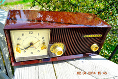 SOLD! - June 23, 2014 - BEAUTIFUL CHOCOLATE BROWN Retro Jetsons 1959 Motorola 5C22M Tube AM Clock Radio WORKS! , Vintage Radio - Motorola, Retro Radio Farm  - 1