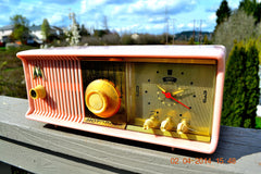 SOLD! - June 3, 2014 - BEAUTIFUL POWDER PINK Retro Jetsons 1957 Motorola 57CC Tube AM Clock Radio WORKS! , Vintage Radio - Motorola, Retro Radio Farm  - 3