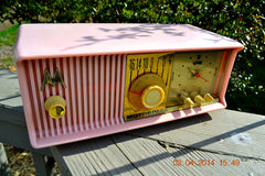 SOLD! - June 3, 2014 - BEAUTIFUL POWDER PINK Retro Jetsons 1957 Motorola 57CC Tube AM Clock Radio WORKS! , Vintage Radio - Motorola, Retro Radio Farm  - 7
