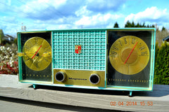 SOLD! - June 28, 2014 - STUNNING AQUA BLUE Retro Jetsons 1957 Magnavox C5 Tube AM Clock Radio WORKS! , Vintage Radio - Magnavox, Retro Radio Farm  - 5