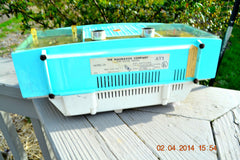 SOLD! - June 28, 2014 - STUNNING AQUA BLUE Retro Jetsons 1957 Magnavox C5 Tube AM Clock Radio WORKS! , Vintage Radio - Magnavox, Retro Radio Farm  - 7