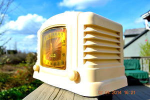 SOLD! - July 21, 2014 - BEAUTIFUL Art Deco Ivory Bakelite 1946 Truetone Stratascope D2611 AM Tube Radio Works! - [product_type} - Truetone - Retro Radio Farm