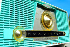 SOLD! - July 11, 2014 - AQUA AND WHITE Atomic Age Vintage 1959 RCA Victor Model X-4HE Tube AM Radio WORKS! , Vintage Radio - RCA Victor, Retro Radio Farm  - 6