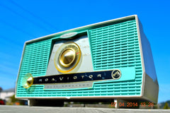 SOLD! - July 11, 2014 - AQUA AND WHITE Atomic Age Vintage 1959 RCA Victor Model X-4HE Tube AM Radio WORKS! , Vintage Radio - RCA Victor, Retro Radio Farm  - 7