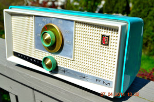 SOLD! - April 22, 2014 - SEAFOAM GREEN Atomic Age Vintage 1959 Sylvania Z6F17 Tube FM Radio WORKS! - [product_type} - Sylvania - Retro Radio Farm