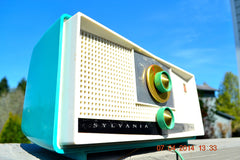 SOLD! - April 22, 2014 - SEAFOAM GREEN Atomic Age Vintage 1959 Sylvania Z6F17 Tube FM Radio WORKS! , Vintage Radio - Sylvania, Retro Radio Farm  - 3