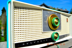 SOLD! - April 22, 2014 - SEAFOAM GREEN Atomic Age Vintage 1959 Sylvania Z6F17 Tube FM Radio WORKS! , Vintage Radio - Sylvania, Retro Radio Farm  - 5
