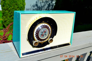 SOLD! - July 19, 2014 - AQUA Atomic Age Vintage 1957 General Electric 862 Tube AM Radio WORKS! - [product_type} - General Electric - Retro Radio Farm