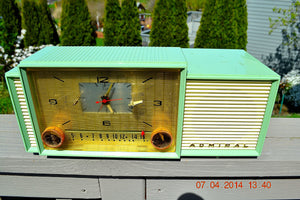 SOLD! - April 22, 2014 - BEAUTIFUL PASTEL GREEN Retro Jetsons 1959 Admiral 298 Tube AM Clock Radio WORKS! - [product_type} - Admiral - Retro Radio Farm