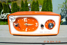 Load image into Gallery viewer, SOLD! - June 22, 2014 - TANGERINE ORANGE Modern Jet Age Eames 1960-70's Sears AM Clock Radio Alarm Works! - [product_type} - Sears - Retro Radio Farm