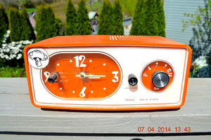 SOLD! - June 22, 2014 - TANGERINE ORANGE Modern Jet Age Eames 1960-70's Sears AM Clock Radio Alarm Works! - [product_type} - Sears - Retro Radio Farm