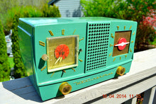 Load image into Gallery viewer, SOLD! - Dec 30, 2014 - GUMBY GREEN Retro Jetsons 1955 Westinghouse H-385T5 Tube AM Clock Radio WORKS! - [product_type} - Westinghouse - Retro Radio Farm