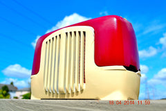 SOLD! - Sept 22, 2014 - BEAUTIFUL Burgundy Ivory Retro Vintage Deco 1947 Sonora WJU-253 Tube Radio Works , Vintage Radio - Sonora, Retro Radio Farm  - 3