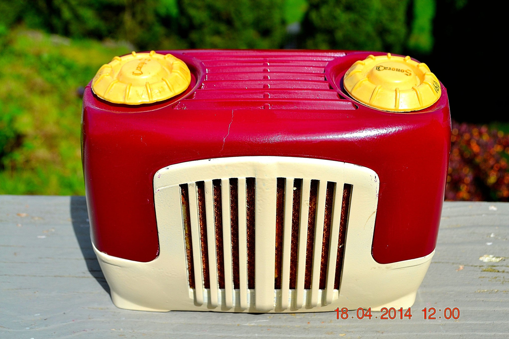 SOLD! - Sept 22, 2014 - BEAUTIFUL Burgundy Ivory Retro Vintage Deco 1947 Sonora WJU-253 Tube Radio Works - [product_type} - Sonora - Retro Radio Farm